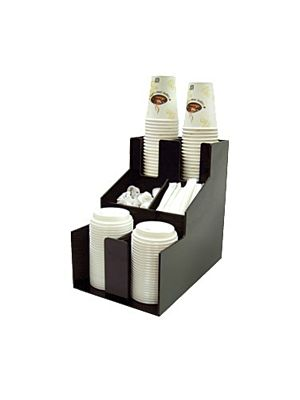 Winco CLSO-2T Black Plastic 2-Tier Cup & Lid Organizer