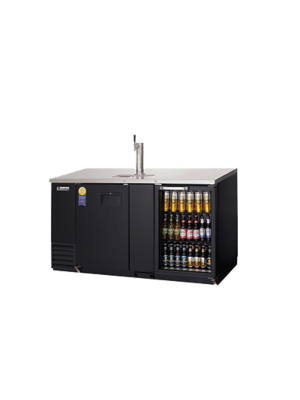 Everest EBD3-BBG-24 2 Door (1 glass) Back Bar and Beer Dispenser - one 1 faucet tower - black exterior  FREE SHIPPING WITH LIFT GATE!