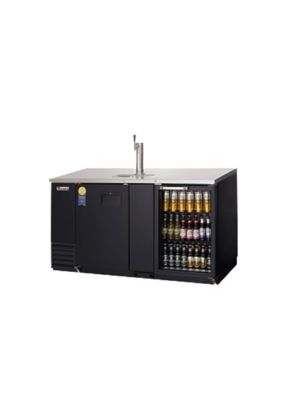 "Everest EBD3-BBG Double Door Glass Back Bar & Keg Refrigerator Combo 68""   FREE SHIPPING WITH LIFT GATE!"
