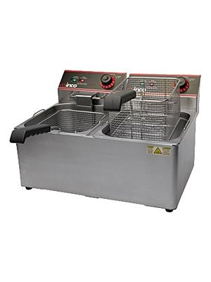 Winco EFT-32 Twin Well Electric Fryer with 32lb. Capacity