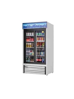 "Everest EMGR33 Dual Sliding Glass Door Refrigerated Merchandiser 39.5""  White  FREE SHIPPING WITH LIFT GATE!"