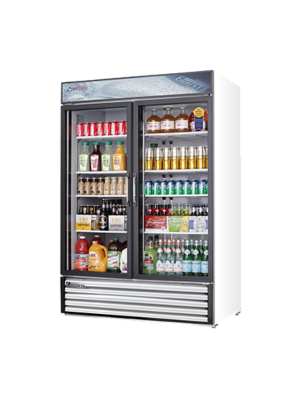 "Everest EMSGR48 Dual Hinged Glass Door Refrigerated Merchandiser 53.25""   FREE SHIPPING WITH LIFT GATE!"