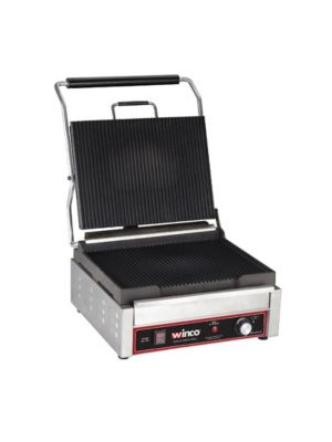 Winco EPG-1C Italian Style Ribbed Sandwich Panini Grill, Electric - 120V