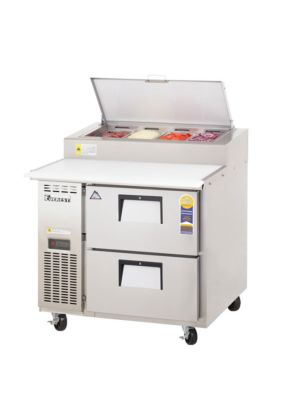 "Everest EPPR1-D2 Drawered Pizza Prep Table 35.5""   FREE SHIPPING WITH LIFT GATE!"