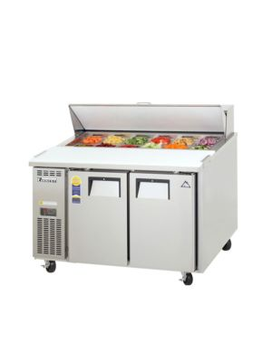 "Everest EPR2 Dual Door Side-Mount Sandwich Prep Table 47.5"" - 13.0 Cu. Ft. Capacity  FREE SHIPPING W/O LIFTGATE"