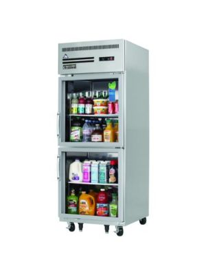 "Everest ESGRH2 Single Split Glass Door Upright Reach-In Refrigerator 23 cu. ft""   FREE SHIPPING WITH LIFT GATE!"