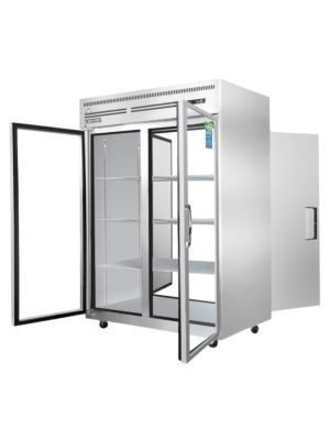 """Everest ESPT-2G-2S 49 5/8"""" Two Section Upright Reach-In Pass-Thru Refrigerator Glass Front/Solid Rear -  FREE SHIPPING W/O LIFTGATE"""