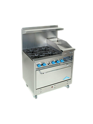 "Comstock-Castle  F330-12B 36"" Gas 4 burner range with 12"" raised griddle/broiler and 31"" oven- 146,000 BTU"