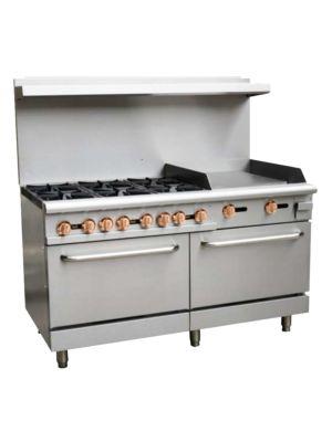 "Copper Beech CBR-6G24 60""W Gas 6 Burners Restaurant Range with Griddle & 2 Standard Ovens - 282,000 BTU"