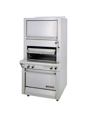 Garland M60XR Master Series Heavy Duty Gas Upright Ceramic Broiler with Standard and Finishing Ovens  - Front Manifold