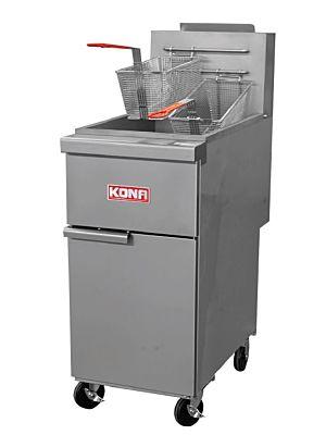 Kona NJGF-40 40-55 lb. Capacity Natural Gas Floor Model Fryer - 120,000 BTU
