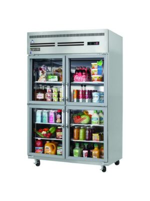 "Everest ESGRH4 Two Section Split Glass Door Upright Reach-In Refrigerator 48 cu. ft""   FREE SHIPPING WITH LIFT GATE!"