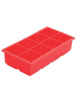 Winco ICCT-8R 8 Compartment Red Silicone Ice Cube Tray