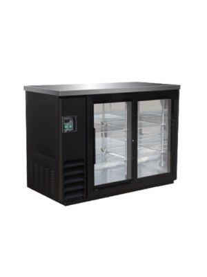 MVP Group IBB49-2G-24SD IKON Series Black Two-Section Refrigerated Back Bar Sliding Glass Door Storage Cabinet  FREE SHIPPING W/O LIFTGATE