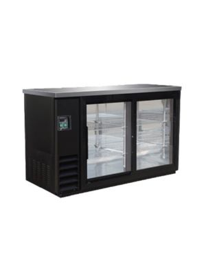 MVP Group IBB61-2G-24SD IKON Series Black Two-Section Refrigerated Back Bar Sliding Glass Door Storage Cabinet  FREE SHIPPING W/O LIFTGATE