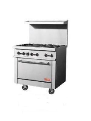 "Kona NJR-6-36 35.9"" Gas Restaurant Range with 6 Open Burners and Oven"