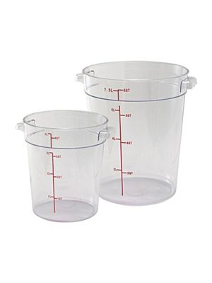 Winco PCRC-6 6 Quart Round Clear Storage Container
