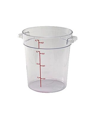 Winco PCRC-4 4 Quart Round Clear Storage Container