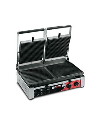 Sirman PD R Cast Iron Double Press Sandwich/Panini Grill with Removable Grooved Top and Bottom Plates