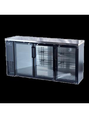 "Spartan SGBBB-72 72"" Glass Door Black Vinyl Back Bar"