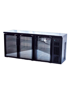"Spartan SGBBB-79-SL 79"" Glass Door Black Vinyl Back Bar"