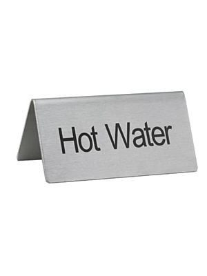 "Winco SGN-104 Stainless Steel ""Hot Water"" Tent Sign"