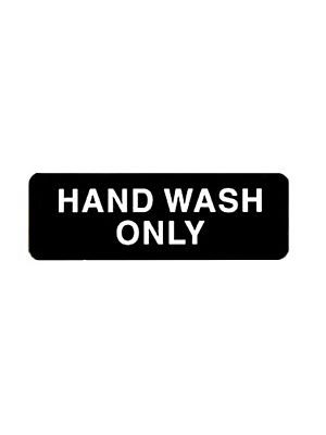 "Winco SGN-303 3"" x 9"" Black ""HAND WASH ONLY"" Sign"