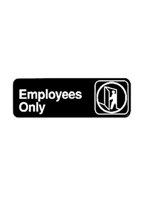 "Winco SGN-305 3"" x 9"" Black ""EMPLOYEES ONLY"" Sign"