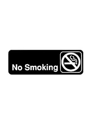 "Winco SGN-310 3""x 9"" Black ""No Smoking"" Information Sign"