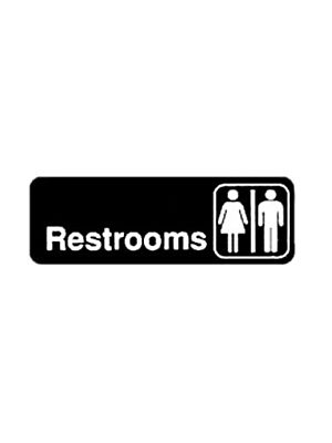 "Winco SGN-313 3"" x 9"" Black ""RESTROOM"" Information Sign"