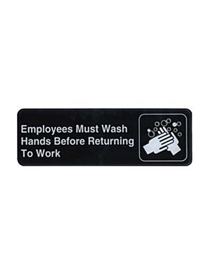 "Winco SGN-322 3"" x 9""  Black ""EMPLOYEES MUST WASH HANDS BEFORE RETURNING TO WORK"" Sign"
