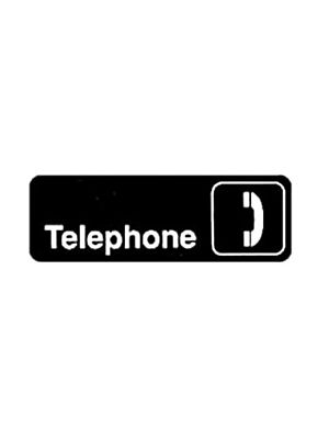 "Winco SGN-325 3"" x 9"" Black ""Telephone"" Sign"