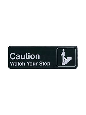 "Winco SGN-326 3"" x 9"" Black ""CAUTION/WATCH YOUR STEP"" Sign"