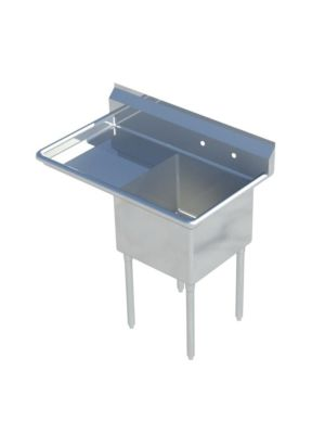 "Sapphire SMS-1821L One Compartment Sink with 18"" Left Drainboard - NSF - 38 1/2"" Total Width (18""x 21"" Bowl)"