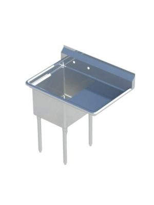 "Sapphire SMS-1818R One Compartment Sink with 18"" Right Drainboard - NSF - 38 1/2"" Total Width (18""x18"" Bowl)"