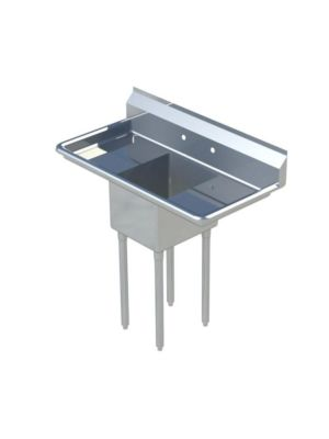"Sapphire SMS-1620D One Compartment Sink with 16"" Left & Right Drainboard - NSF - 52"" Total Width (16""x 20"" Bowl)"