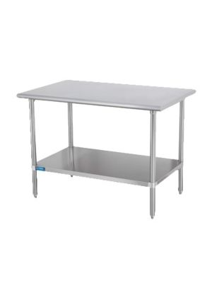 """Sapphire SMT-1460S 60""""W x 14""""D Stainless Steel Work Table with Shelf and Legs"""