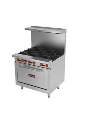 "MVP Group Sierra SR-6-36  36"" Gas Restaurant Range with 6 Open Burners with Oven - 212,000 BTU"