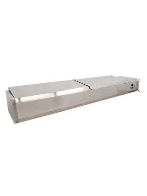 "MVP Group Kool-It VRXH2000/380SSLID  80""W Refrigerated Topping Rail with Stainless Steel Lid"