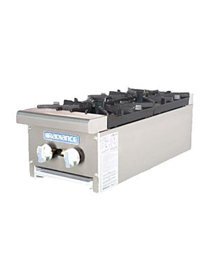"Turbo Air TAHP-12-2 Radiance Series 12"" Countertop Gas Hot Plate - 64,000 BTU"