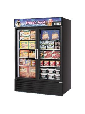 Turbo Air TGF-49FB-N Black Two-Section Glass Door Freezer Merchandiser - FREE SHIPPING WITHOUT LIFTGATE
