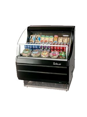Turbo Air TOM-30SB-N Black Horizontal Open Display Merchandiser - FREE SHIPPING WITHOUT LIFTGATE