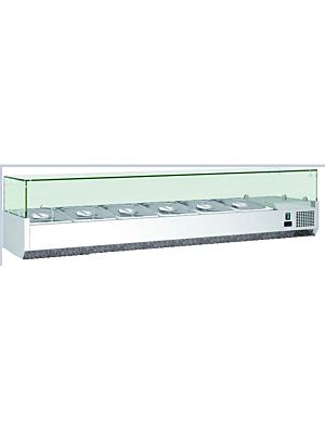 "MVP Group Kool-It VRXH2000/380 80""W Refrigerated Topping Rail with Glass Sneeze Guard"