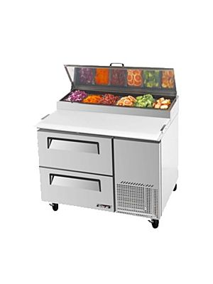 Turbo Air TPR-44SD-D2-N Two-Drawer Super Deluxe Pizza Prep Table with Refrigerated Counter - FREE SHIPPING WITHOUT LIFTGATE