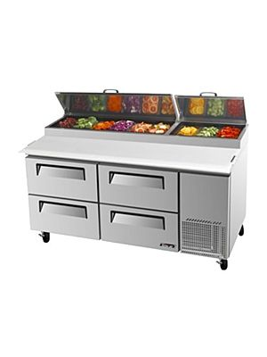 Turbo Air TPR-67SD-D4-N Four-Drawer Super Deluxe Pizza Prep Table with Refrigerated Counter - FREE SHIPPING WITHOUT LIFTGATE