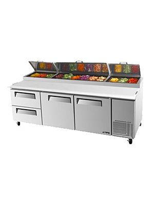 Turbo Air TPR-93SD-D2-N Two-Door, Two-Drawer Super Deluxe Pizza Prep Table with Refrigerated Counter - FREE SHIPPING WITHOUT LIFTGATE