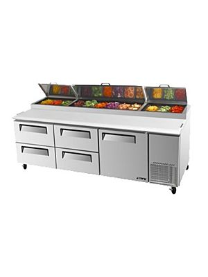 Turbo Air TPR-93SD-D4-N One-Door, Four-Drawer Super Deluxe Pizza Prep Table with Refrigerated Counter - FREE SHIPPING WITHOUT LIFTGATE