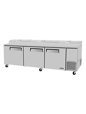 Turbo Air TPR-93SD-N Three-Door Super Deluxe Pizza Prep Table with Refrigerated Counter - FREE SHIPPING WITHOUT LIFTGATE