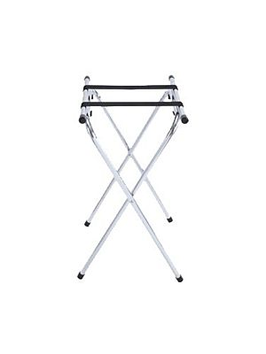"""Winco TSY-1A  31""""Chrome Folding Tray Stand with Bar"""