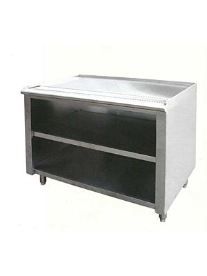 "L&J TUT-108-30W Stainless Steel Tea Urn Cabinet with Drain Trough - 108"" x 30"""